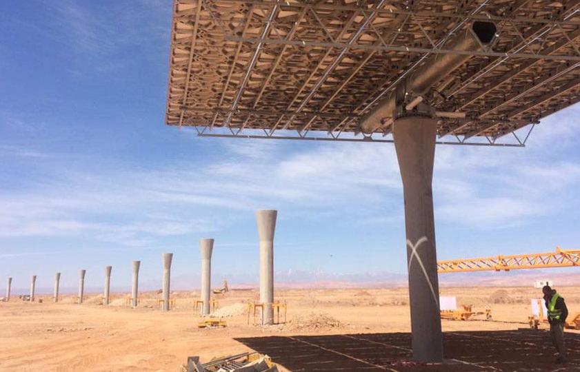 Alternativa pedestales prefabricados para la planta CSP NOOR III de Ouarzazate